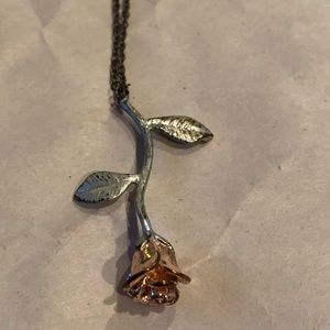 Rose Gold and Silver Rose Necklace